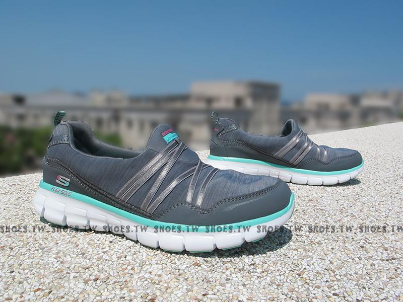 [23cm]《降價6折》MShoestw【12004CCAQ】SKECHERS 健走鞋 Memory Foam 記憶鞋墊 灰藍 緞帶 超柔軟