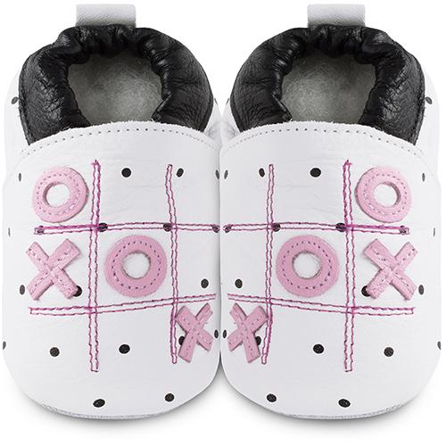 【HELLA 媽咪寶貝】英國 shooshoos 安全無毒真皮手工鞋/學步鞋/嬰兒鞋_圈圈叉叉_101050 (公司貨)