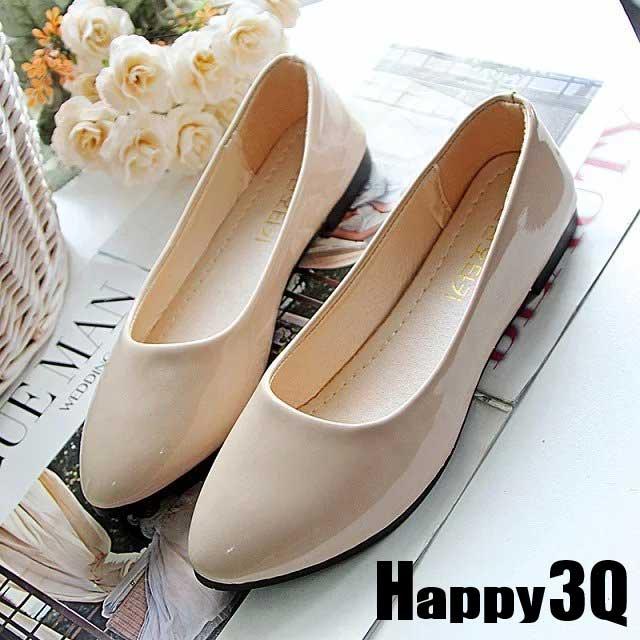 漆皮素面純色舒適懶人娃娃鞋-黑/白/米/粉36-40【AAA0188】