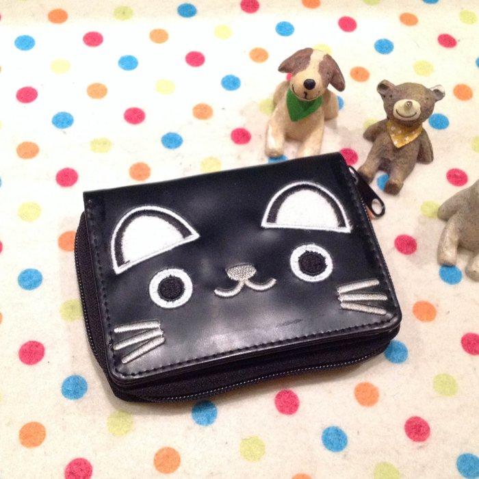 =優生活=日本黑貓 靴下貓橫式立體造型短夾 卡通皮夾靴下貓造錢包 證件包 拉鍊夾層款