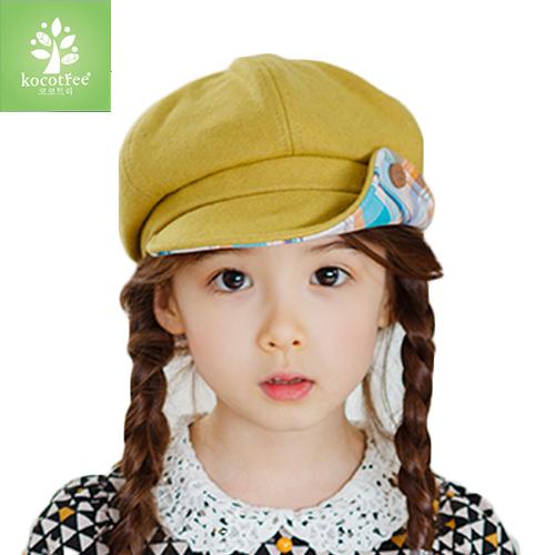 kocotree◆秋冬氣質兒童帽優質毛呢純色翻折格紋鈕扣帽-黃色