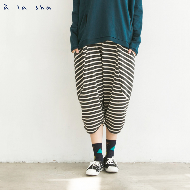 a la sha mucha 褲腳抓皺造型低檔褲