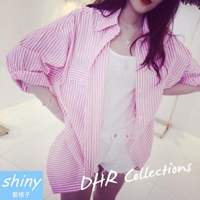 【V0822】shiny藍格子-夏季微搭.條紋翻領寬鬆長袖中長款防曬襯衫外套