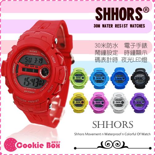 *餅乾盒子* shhors 運動 電子錶 30米 防水手錶 類 baby G shock 數位錶 女錶 對錶 男錶 冷光