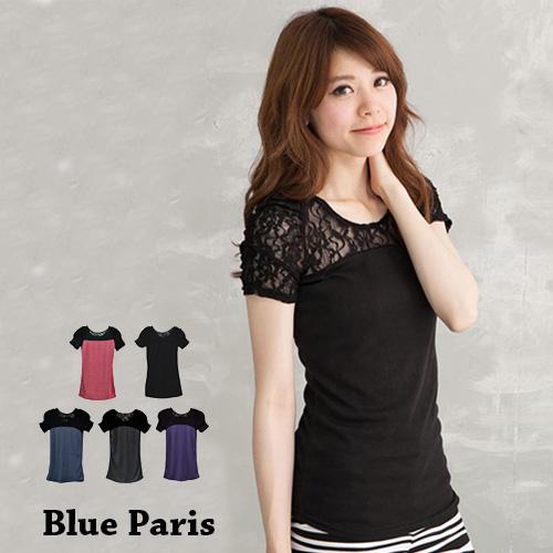 上衣 - 短袖純色拼接蕾絲公主袖T恤【25015】藍色巴黎《5色》現貨