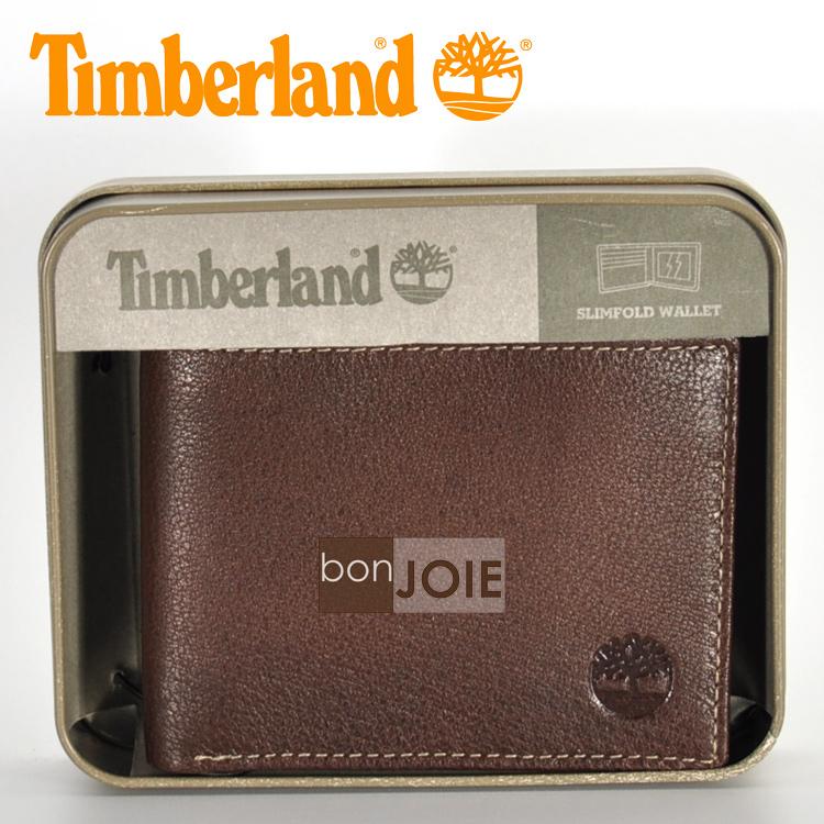 ::bonJOIE:: 美國進口 新款 Timberland 紙盒裝三卡透明窗皮夾 (咖啡色)(附原廠盒裝) 真皮 二折式 短夾 實物拍攝