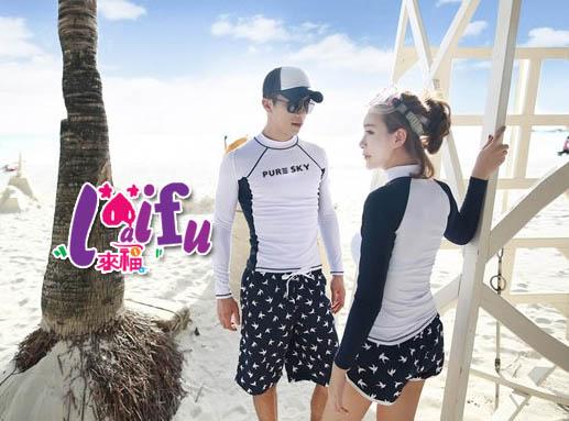 來福,A99沖浪服親子藍白色浮潛衣沙灘衣,單男生上衣售價820元