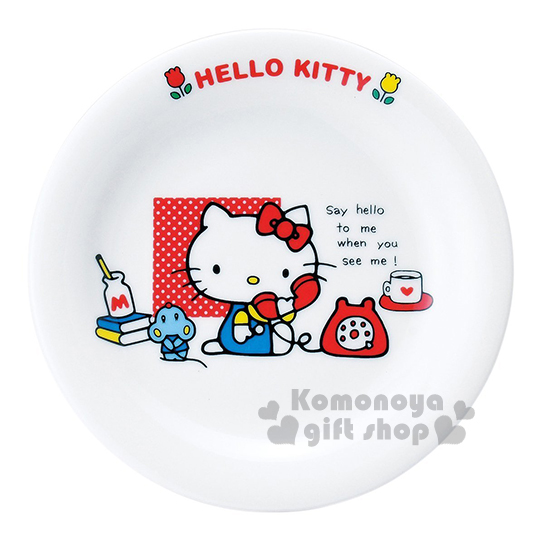 〔小禮堂〕Hello Kitty 日製陶瓷盤《小.白.接電話.坐姿》日本金正陶瓷.70年代系列