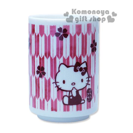 〔小禮堂〕Hello Kitty 日製陶瓷茶杯《暗紅.櫻花.180ml》精緻金正瓷器