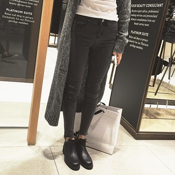 PS Mall 緊身鉛筆小腳褲深色抓破顯瘦九分牛仔褲長褲【T2956】