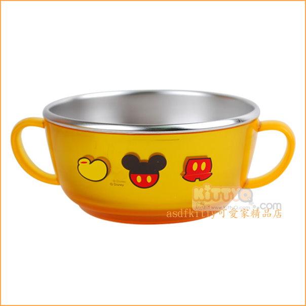 asdfkitty可愛家☆迪士尼米奇金黃色防燙304不鏽鋼有把手鋼碗/學習碗/隔熱碗/飯碗/湯碗-韓國製