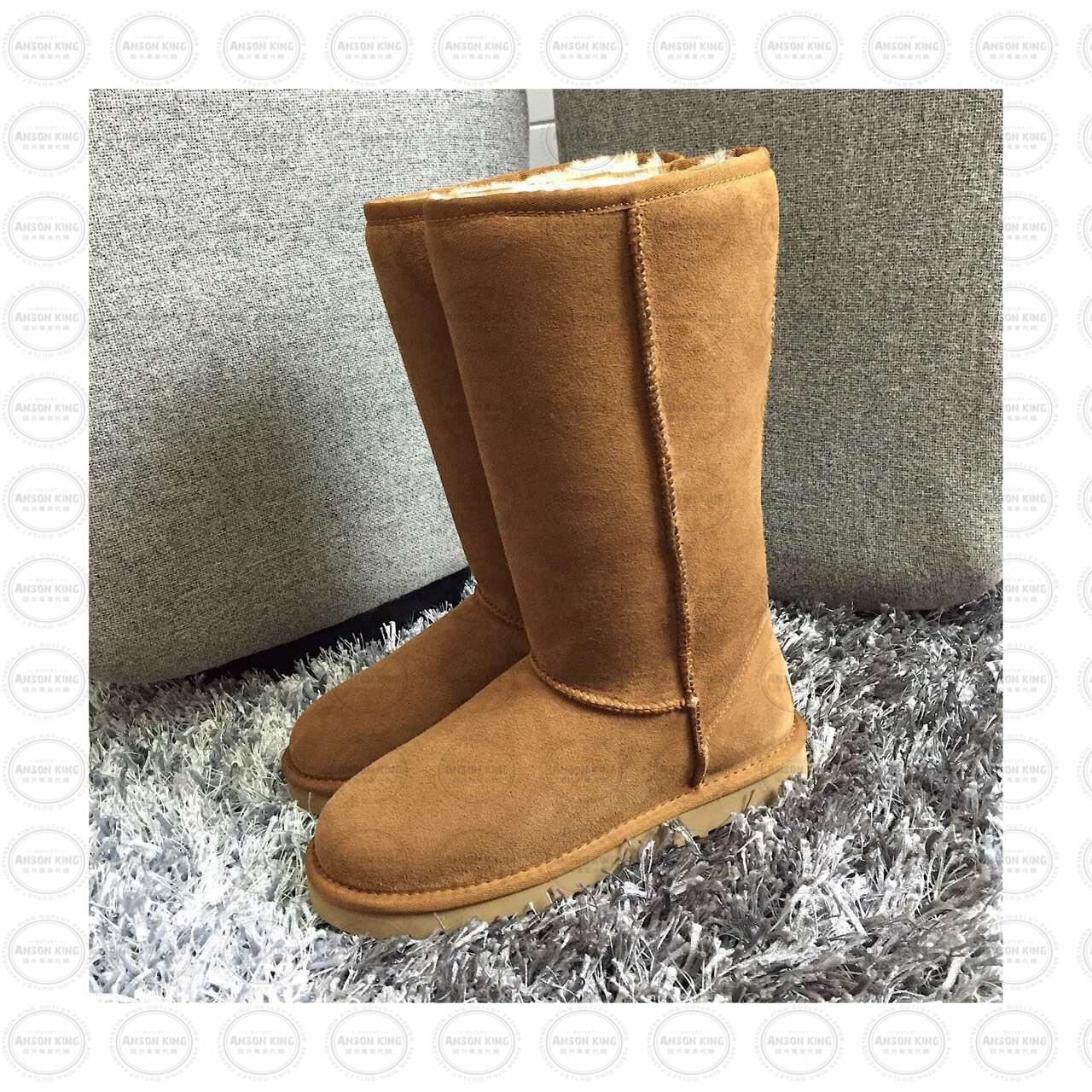 OUTLET正品代購 澳洲 UGG 經典女款羊皮毛一體雪靴 中長靴 保暖 真皮羊皮毛 雪靴 短靴 棕色