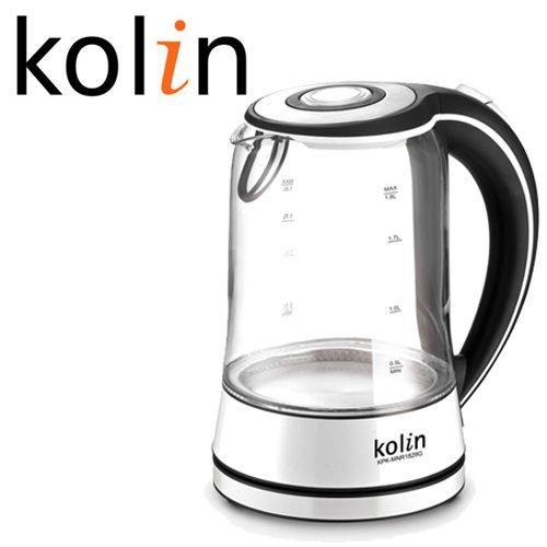 ~威利家電~歌林Kolin-LED繽彩耐熱玻璃快煮壺/電茶壺 (防乾燒斷電功能) 1.8L KPK-MNR1829G / PK-MN1803G的改款版