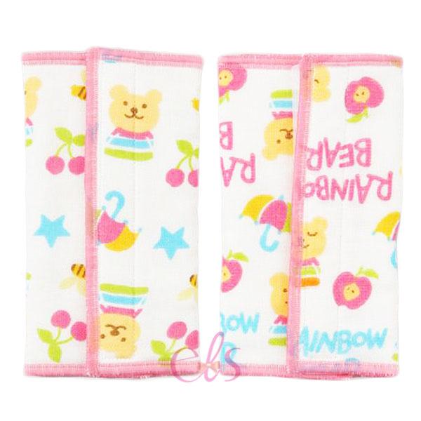 日本 RAINBOW BEAR 彩虹熊 背巾揹帶磨牙/口水巾 約16*22cm 一般揹巾皆可適用 粉 ☆艾莉莎ELS☆