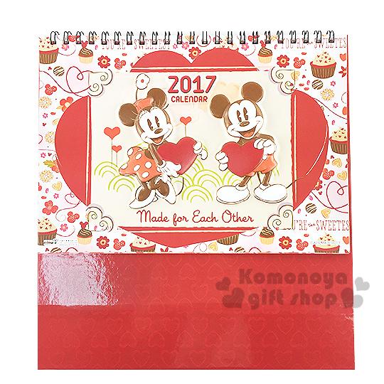 〔小禮堂〕迪士尼 米奇米妮 2017立體造型桌上型月曆《M.紅.拿愛心.站姿.杯子蛋糕》桌曆