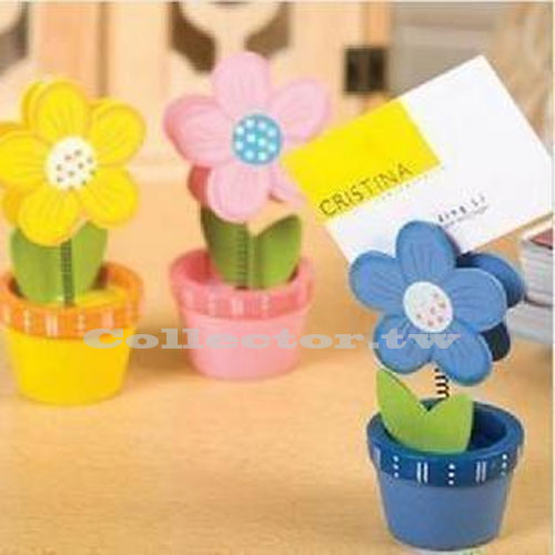 【L15031201】木質彩繪太陽花盆栽名片夾 留言便條夾 便簽夾 Memo夾 桌上小物