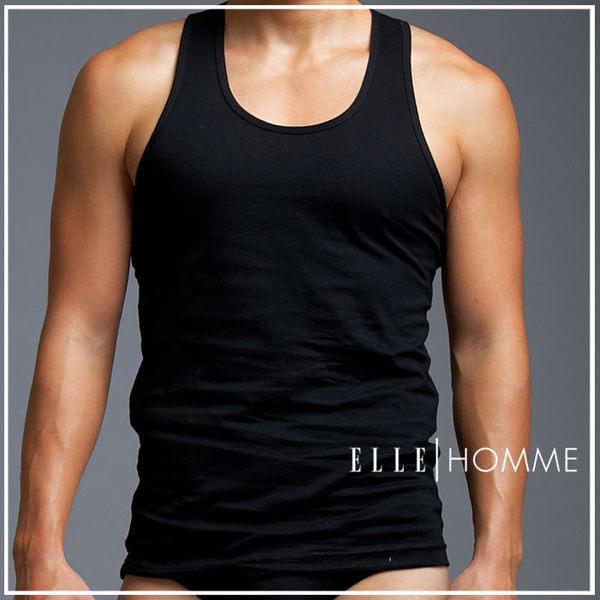 ELLE HOMME精梳純棉挖背背心/男內衣-黑《超值三件組》【中揚精品】E802