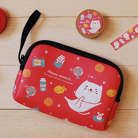《mori shu》護照旅行/手機硬碟3C包 - 包子貓鯛魚燒