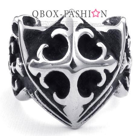 《 QBOX 》FASHION 飾品【W10023383】精緻個性克羅心盾牌鑄造316L鈦鋼戒指/戒環