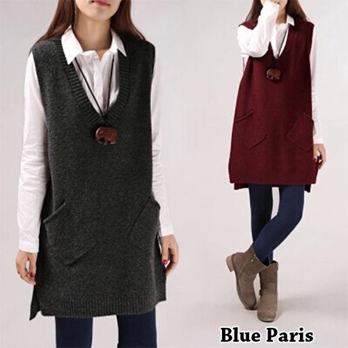 毛衣 - 大V領前短後長大口袋無袖針織衫【29157】藍色巴黎《5色》現貨 + 預購