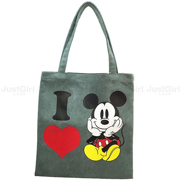 迪士尼 米奇 手提袋 側背包 帆布手提袋 加厚布料 配件 正版韓國製造進口 * JustGirl *