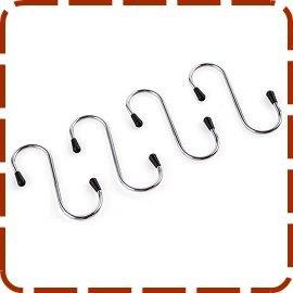 不鏽鋼S掛鉤 4入 / 餐籃掛勾 / 置物籃掛鉤 / 收納掛勾 / 餐具勾 / 廚具鉤 A003