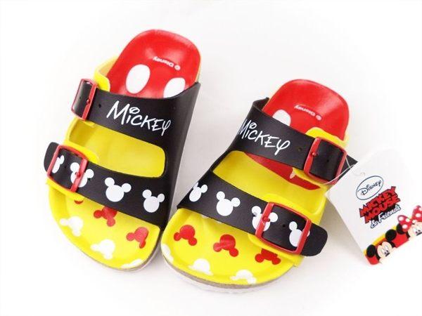 EMMA商城~Disney迪士尼米奇經典調整式氣墊兒童拖鞋.童鞋 黑黃15~21號
