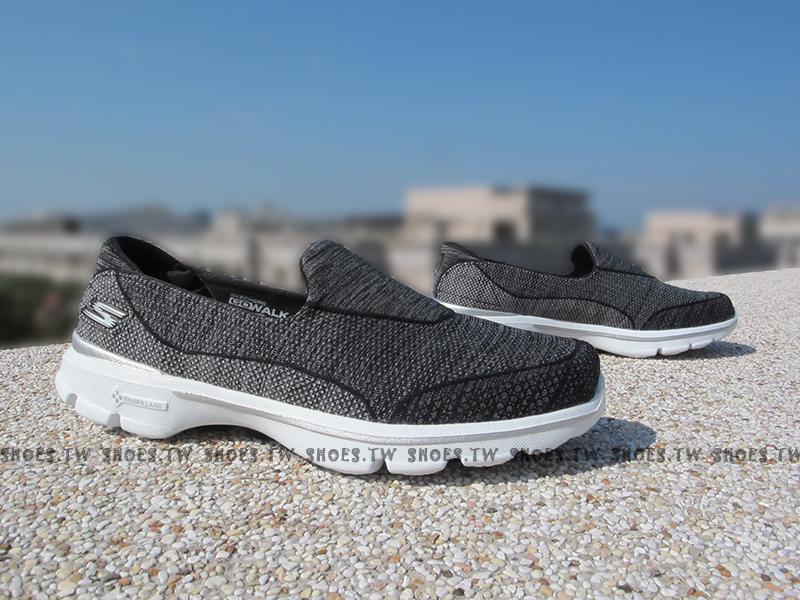 [23.5cm]Shoestw【14046BKW】SKECHERS 健走鞋 輕便鞋 GO WALK3 黑 雪花 編織 女款 瑜珈鞋墊