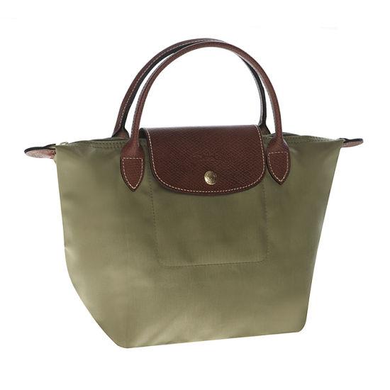 [短柄S號]國外Outlet代購正品 法國巴黎 Longchamp [1621-S號] 短柄 購物袋防水尼龍手提肩背水餃包 抹茶綠