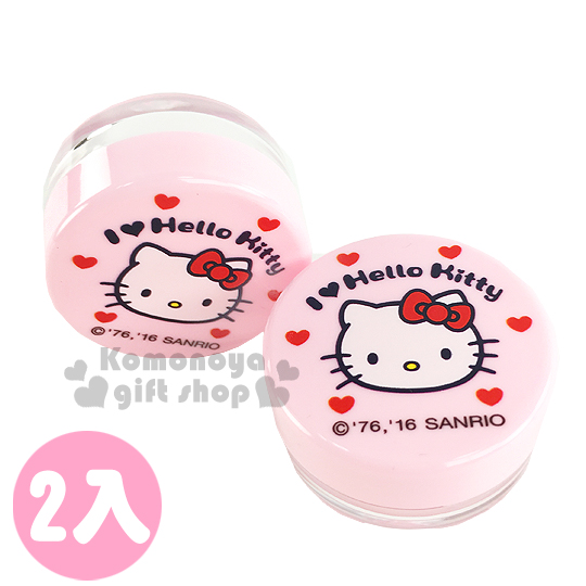 〔小禮堂〕Hello Kitty 乳液盒《2入組.10g.透明.粉.大臉.愛心》平日旅行皆適用