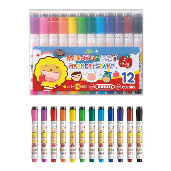 雄獅 SM-001 可水洗印章彩色筆12色組
