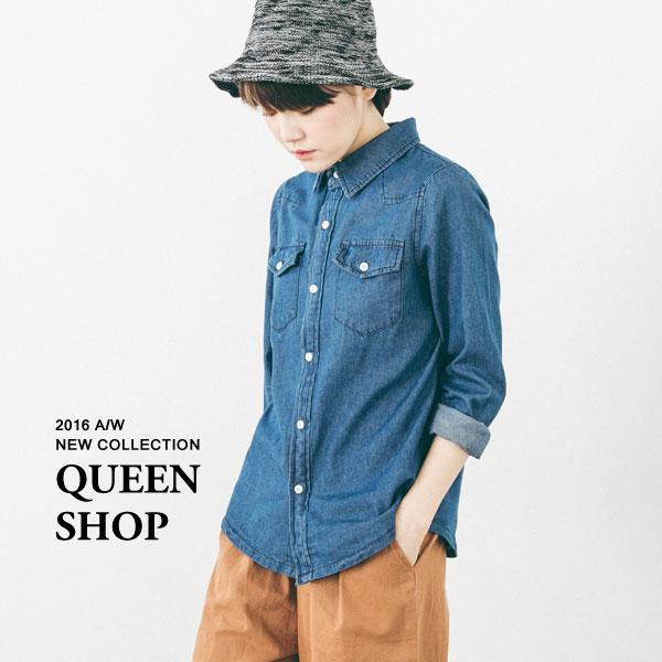Queen Shop【01022243】雙口袋壓線牛仔襯衫 S/M 兩色售 *現貨+預購*