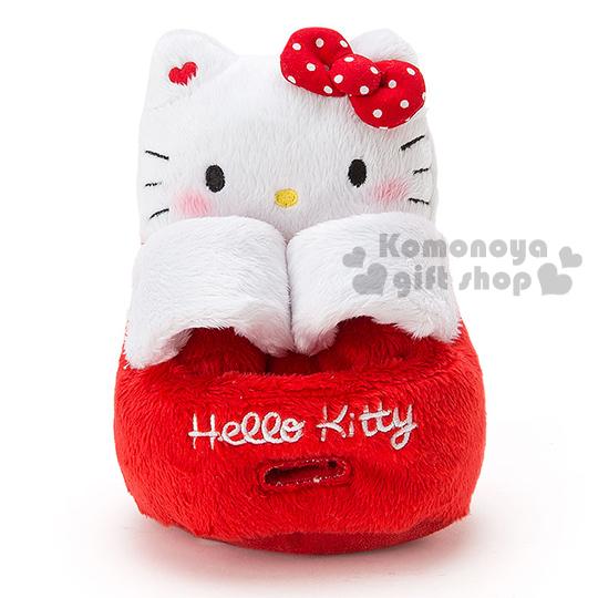 交換禮物免運499含包裝〔小禮堂〕Hello Kitty 絨毛造型手機座《紅白.坐姿.吊帶褲》可調整寬度