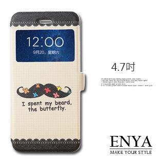 iPhone6/6S 4.7吋 現貨 黑鬍子彩繪視窗皮套 (郵寄免運) Enya恩雅
