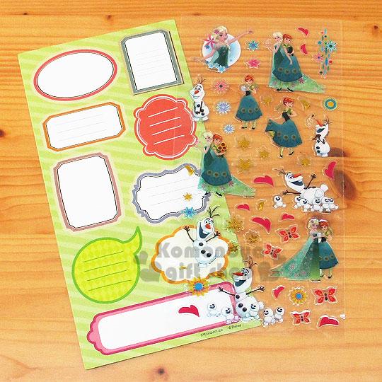 〔小禮堂〕冰雪奇緣 燙金留言貼紙《綠.向日葵.安娜生日.小雪寶》可貼信封.裝飾或收藏
