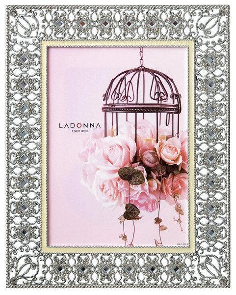 【筆坊】Ladonna Bridal系列 水晶華麗鏤空鑲邊5x7結婚相框 (MJ48-2L-WH)
