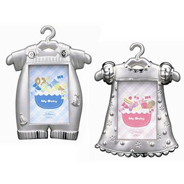 【筆坊】LADONNA BABY系列-男孩吊帶褲/女孩花洋裝金屬浮雕鍍銀相框(MB29-S2/MB30-S2)