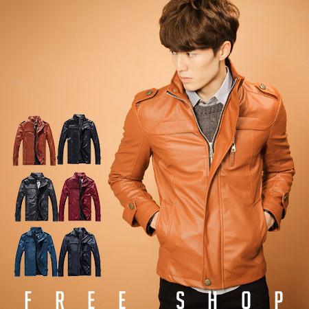 皮衣外套 Free Shop【QJFK3059】韓版英倫俐落經典立領拉鍊設計皮衣皮革皮外套騎士外套 六色