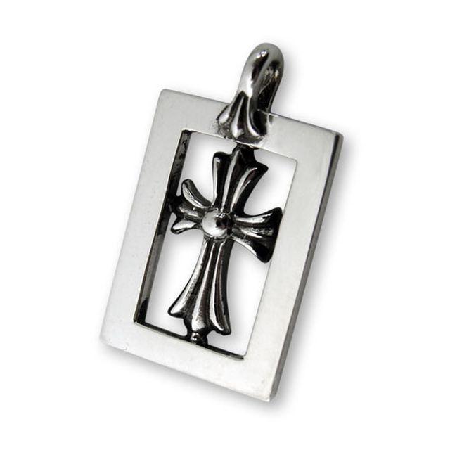 【海外訂購】【Chrome Hearts】十字架鏤空方框純銀墜飾 Frame open baby fat (CHC-034  0211550000)