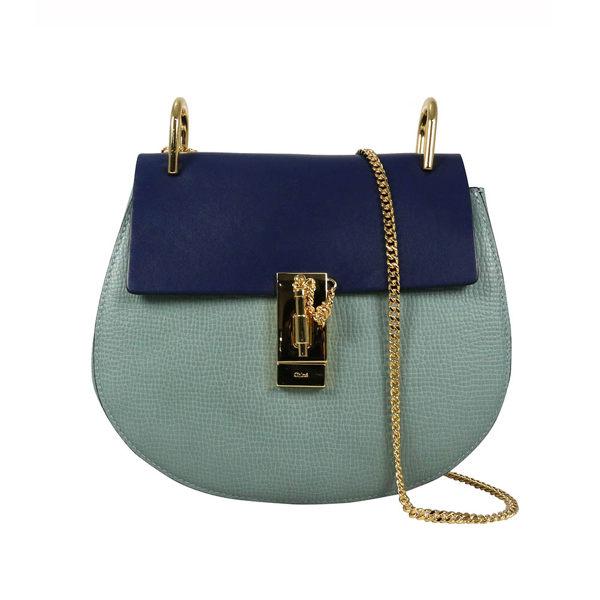 【CHLOE】拚色山羊皮金鍊 drew bag(灰藍拚色RAINY BLUE) 3S1031 HOX BF2