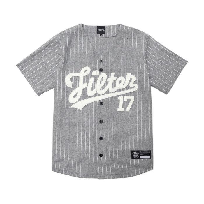 ►法西歐_桃園◄ Filter017 Wool Baseball Shirt 毛料棒球衫 條紋 灰 黑 短袖 棒球球衣 灰色
