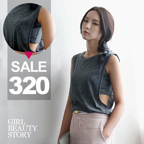 SISI【V6032】性感鏤空露腰韓版無袖內搭露腰修身假兩件式背心上衣