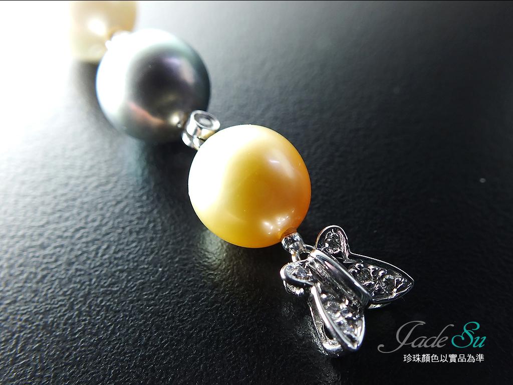 天然南洋珠鑽石墬子\金色9mm\白色9mm\黑色9mm\585白K金墬台\鑲嵌天然南非鑽石\Jade Su Jewelry