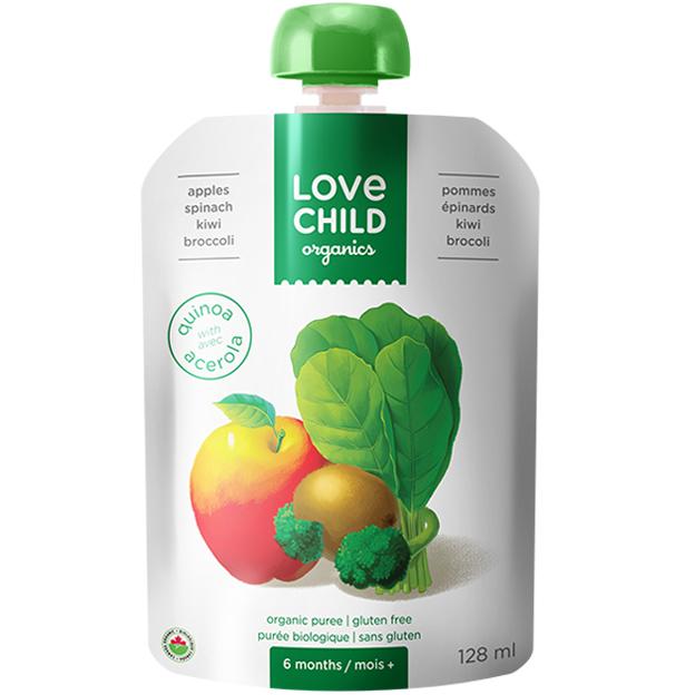 【Love Child】加拿大寶貝泥 嬰幼兒有機鮮萃生機蔬果泥 均衡寶系列- 蘋果+菠菜+奇異果+綠花椰菜
