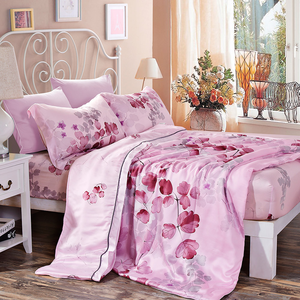 Lily Royal 天絲 陽光旅行(粉) 雙人四件式兩用被床包組/ 哇哇購