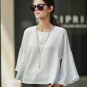 美麗大街【IR1959】歐洲站女裝喇叭袖短款圓領七分袖襯衫