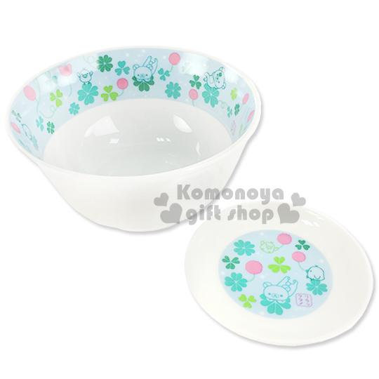 〔小禮堂〕懶懶熊 陶瓷碗盤組《白.藍.幸運草.趴姿.2件組》