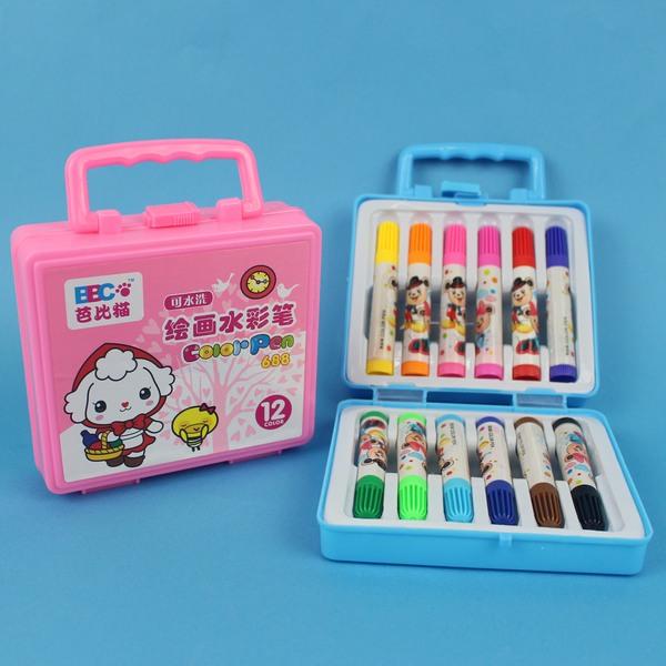 可水洗12色彩色筆 688 芭比貓手提12色繪畫水彩筆/一盒入 特[#49]~萬