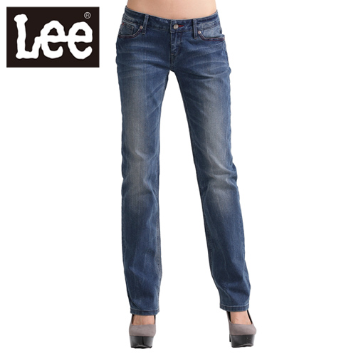 【Super Sales 褲款下殺↘2.5折】LEE 牛仔褲425 超低腰合身直筒-女款(二手中藍)