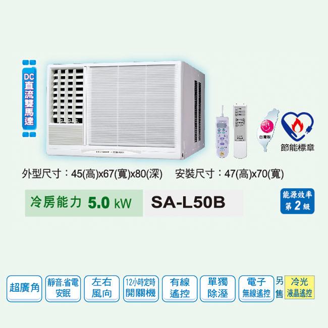 ★送↘聲寶-14吋電扇SK-FC14【SANLUX台灣三洋】8-10坪窗型DC直流雙馬達冷氣(220V電壓)。左吹式/SA-L50B